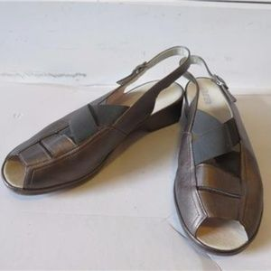 ARA SILVER LEATHER  SANDALS US 8/ UK 6